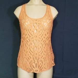 Fossil Peach sheer lace tank - XS